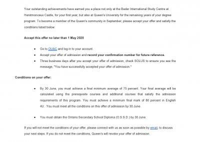 Queens University Acceptance Letter